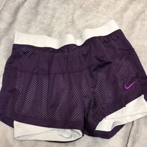 Nike workout shorts purple with spandex underneath